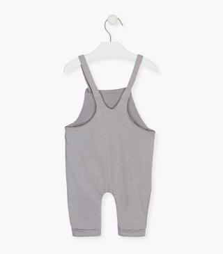 Unnapped plush dungaree in grey organic cotton.