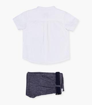 Short sleeve linen shirt & shorts set.