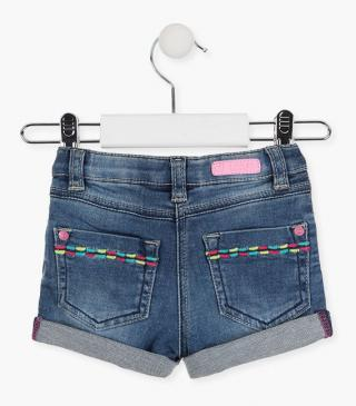 Embroidered denim shorts.