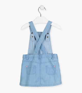 Pinafore dress with embroidered placket.