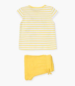 Yellow fabric-mix shorts & tee set.