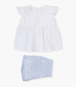 Dotted Swiss voile blouse and shorts set.