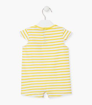 White and yellow stripe summer sleepsuit.