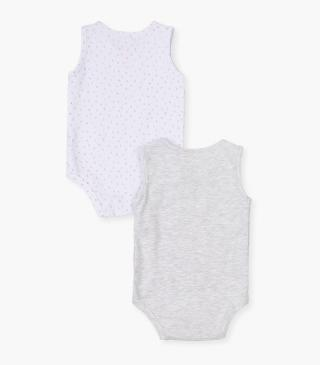 Sleeveless bodysuit 2-pack with print.