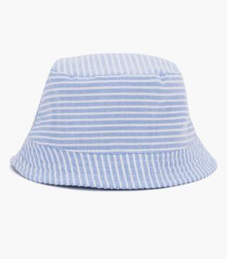 Striped hat.