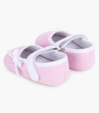 Pink and white stripe shoes.