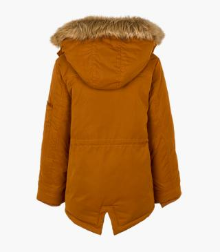 Detachable hood jacket with faux fur trim.