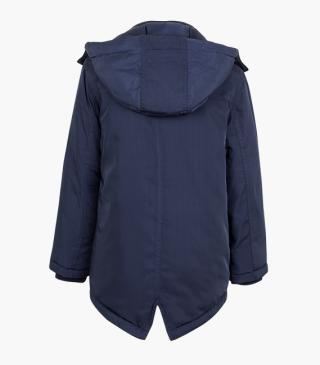 Blue jacket with detachable hood.