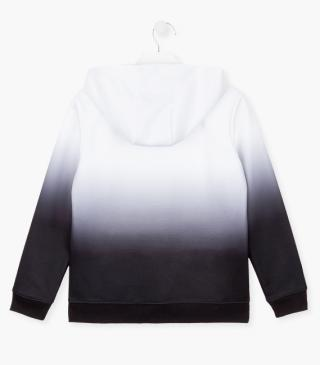 Interlock sweatshirt in black and white.