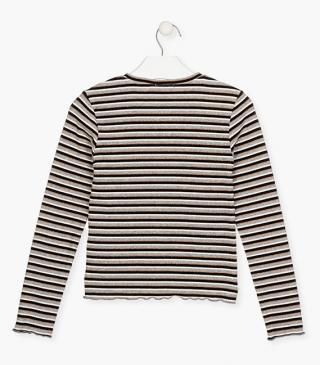Striped rib-knit t-shirt.