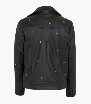 Pleather jacket with stars.