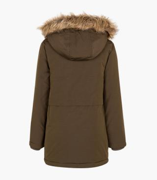 Faux-fur trim hood jacket.