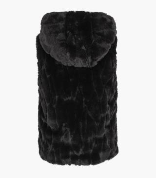 Faux-fur vest with hood.
