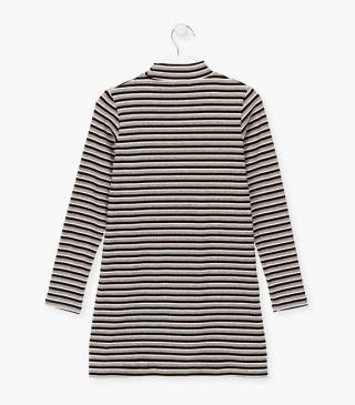 Dress in a striped rib-knit.