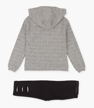 Faux-wool sweatshirt & patch leggings set.