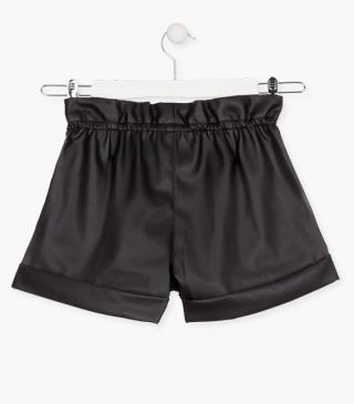 Faux-leather shorts.