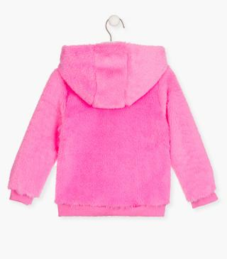 Fluffy fleece jacket with a zip.