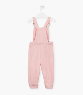 Pink brushed plush dungaree.