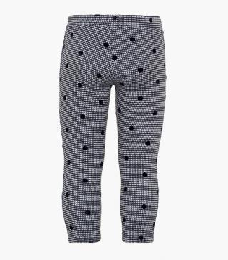 Houndstooth leggings with printed dots.
