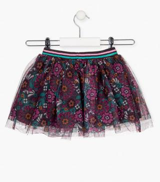 All-over floral print skirt in tulle.