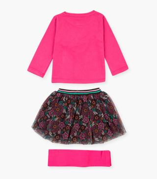 T-shirt, printed tulle skirt and tights set.