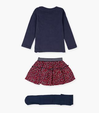 T-shirt, printed flared skirt and tights set.