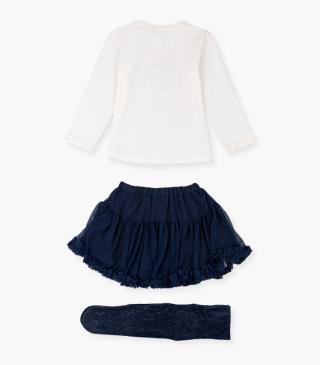 Tee, tulle skirt and tights set.