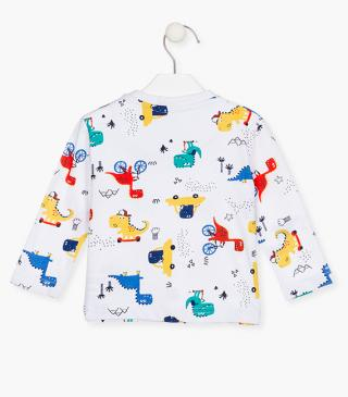 T-shirt with colourful dinosaurs.