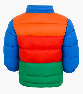 Rainbow quilted jacket.