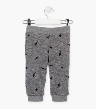 Plush trousers with stars and bolts.