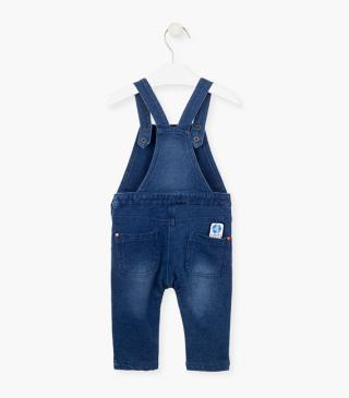 Graphic pocket dungaree in mock-denim.