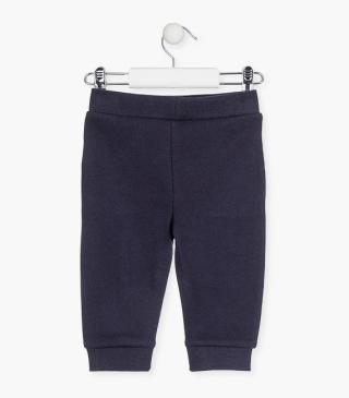 Plush trousers in blue.