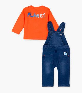 Printed pocket t-shirt & dungaree set.