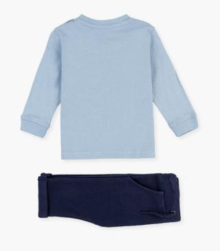 Blue t-shirt & cotton trousers set.