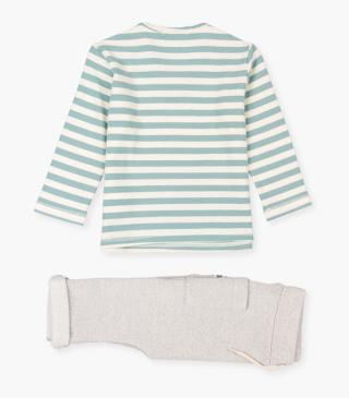 Green striped t-shirt & trousers set.