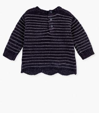 Chenille jumper with lurex stripes.