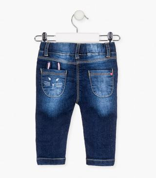 Jeggings with gathered insert pockets.