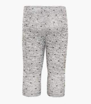 Grey trousers with little hearts.