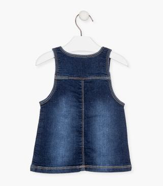Denim pinafore dress.