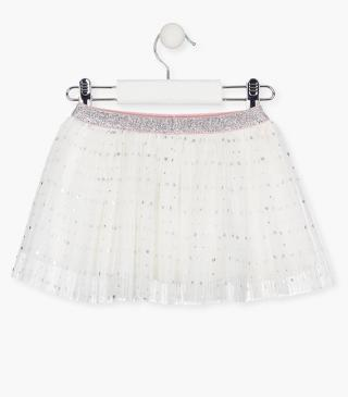Pleated tulle skirt with heart motif.