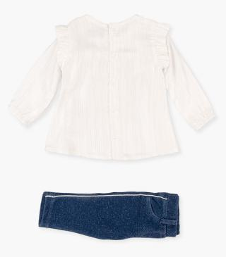 Set of jeggings & blouse with gathered armhole insert.