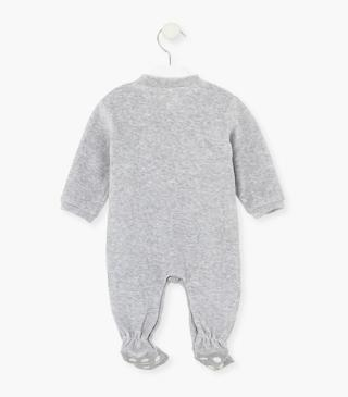 Sheep print sleepsuit with fluffy appliqué.