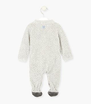 Panda print sleepsuit with ear appliqué.