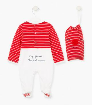Christmas interlock sleepsuit.