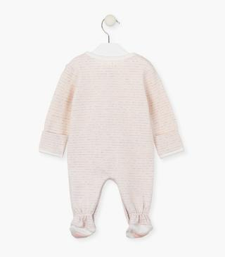 Striped sleepsuit with chest pocket.