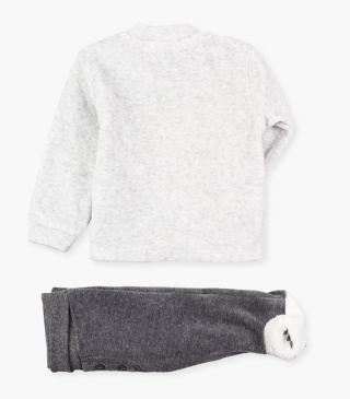 Trousers with feet & sweatshirt set.