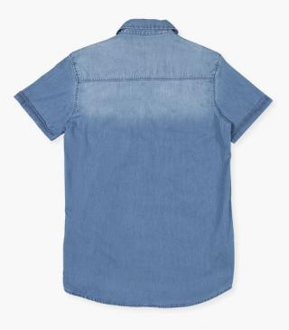 Denim short sleeve shirt.