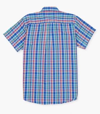 Blue shirt in check pattern.