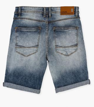 Rip front denim shorts.