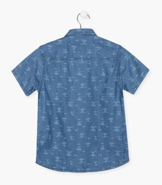 Palm tree print shirt with short sleeves.